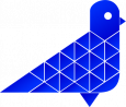 abstract pigeon design llc logo: web design, branding, and seo marketing: the logo is a pigeon profile shaped from blue triangular tiles